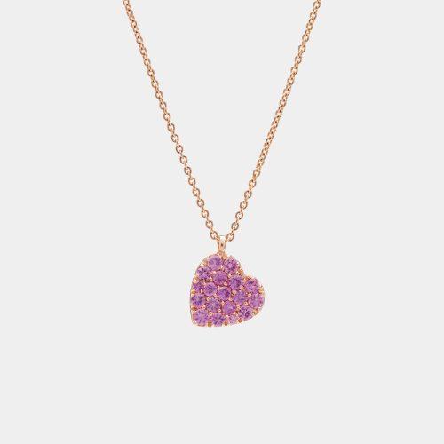 Girocollo cuore in oro rosa e zaffiri rosa - Rosanna Cattolico Gioielli