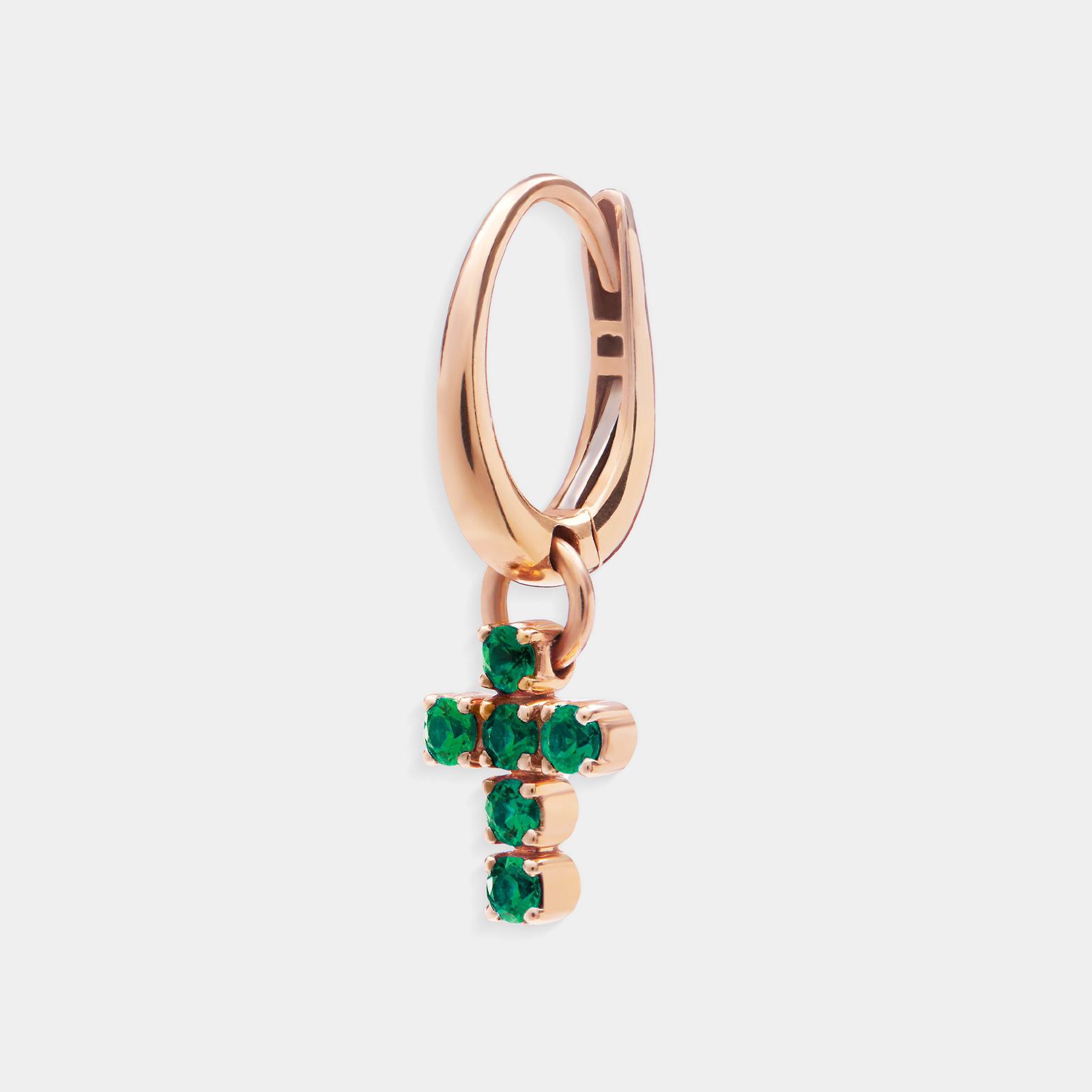 Mono Orecchino pendente in oro rosa con croce di smeraldi - Rosanna Cattolico gioielli
