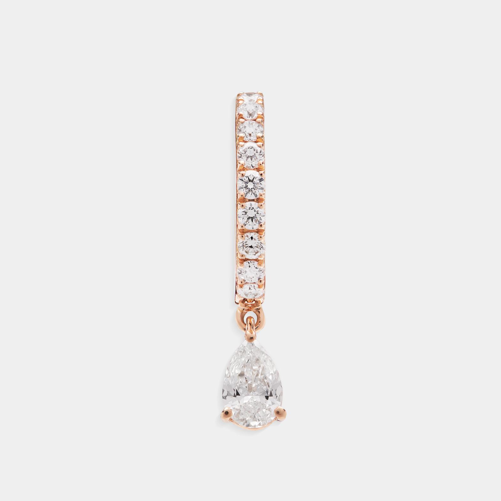 Mono Orecchino cerchietto in oro rosa con pendente a goccia diamante - Rosanna Cattolico gioielli