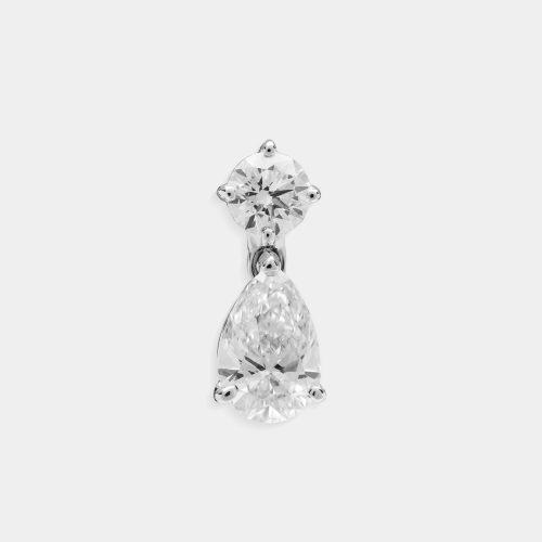 Mono orecchino in oro bianco con pendente a goccia diamante - Rosanna Cattolico gioielli