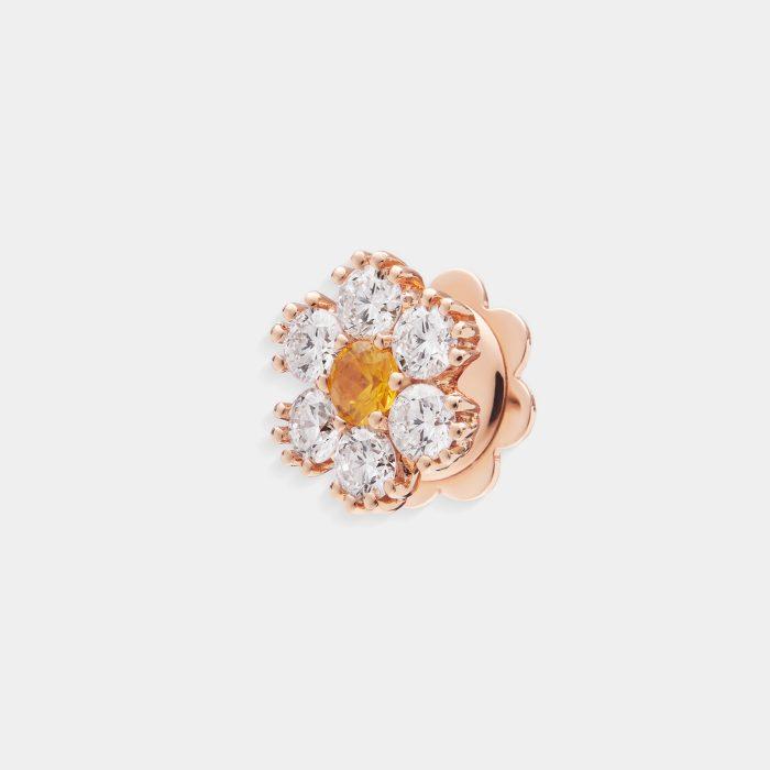 Mono orecchino fiore in oro rosa diamanti e zaffiro giallo - Rosanna Cattolico gioielli