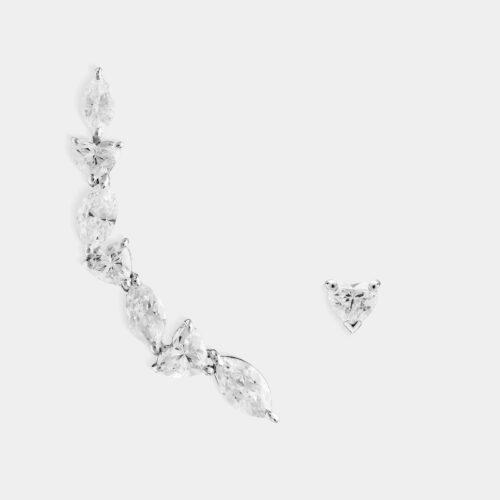 Orecchino earcuff in oro bianco e diamanti - Rosanna Cattolico gioielli