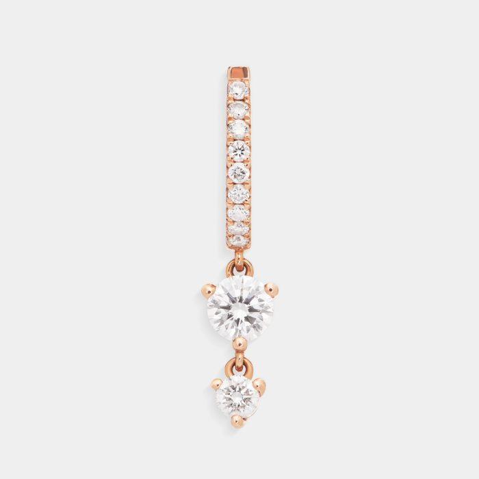Mono Orecchino cerchietto in oro rosa con pendente in diamanti - Rosanna Cattolico gioielli