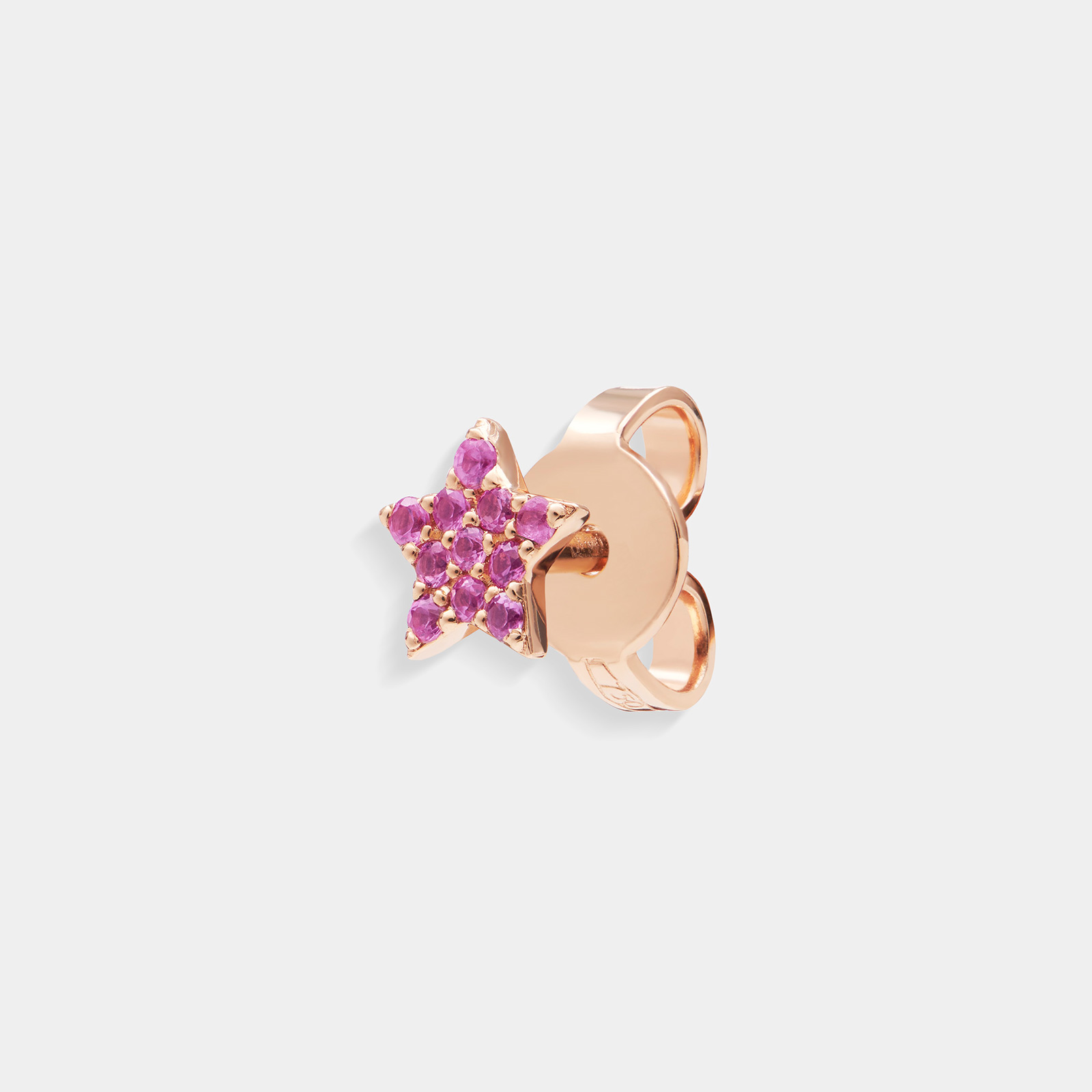 Mono orecchino stella in oro rosa e zaffiri rosa - Rosanna Cattolico gioielli
