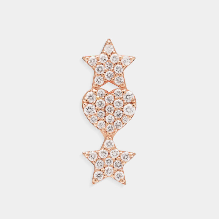 Mono Orecchino fantasia in oro rosa e diamanti - Rosanna Cattolico gioielli