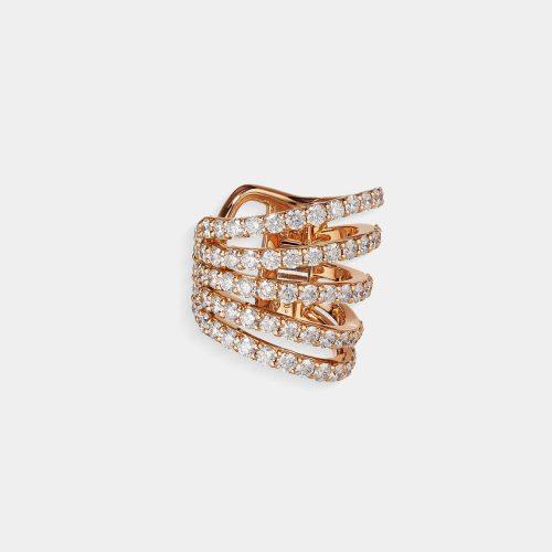 Crivelli - Orecchino earcuff in oro rosa e diamanti | Rosanna Cattolico gioielli