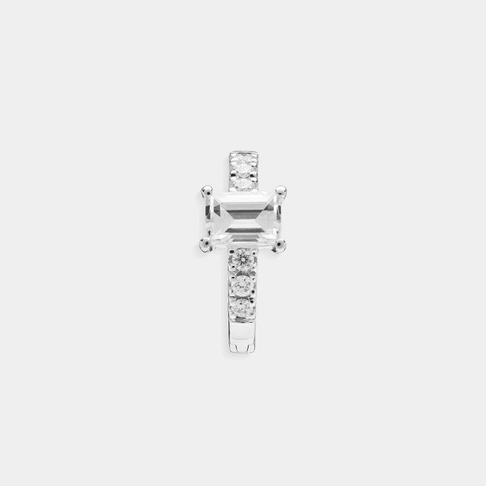 Mono orecchino cerchietto in oro bianco con diamante taglio baguette - Rosanna Cattolico gioielli