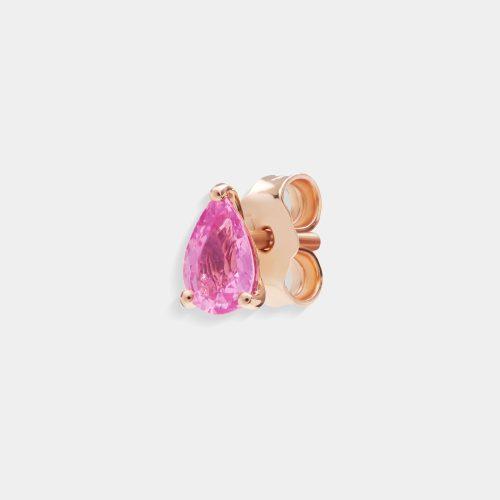 Mono Orecchino in oro rosa goccia di zaffiro rosa - Rosanna Cattolico gioielli