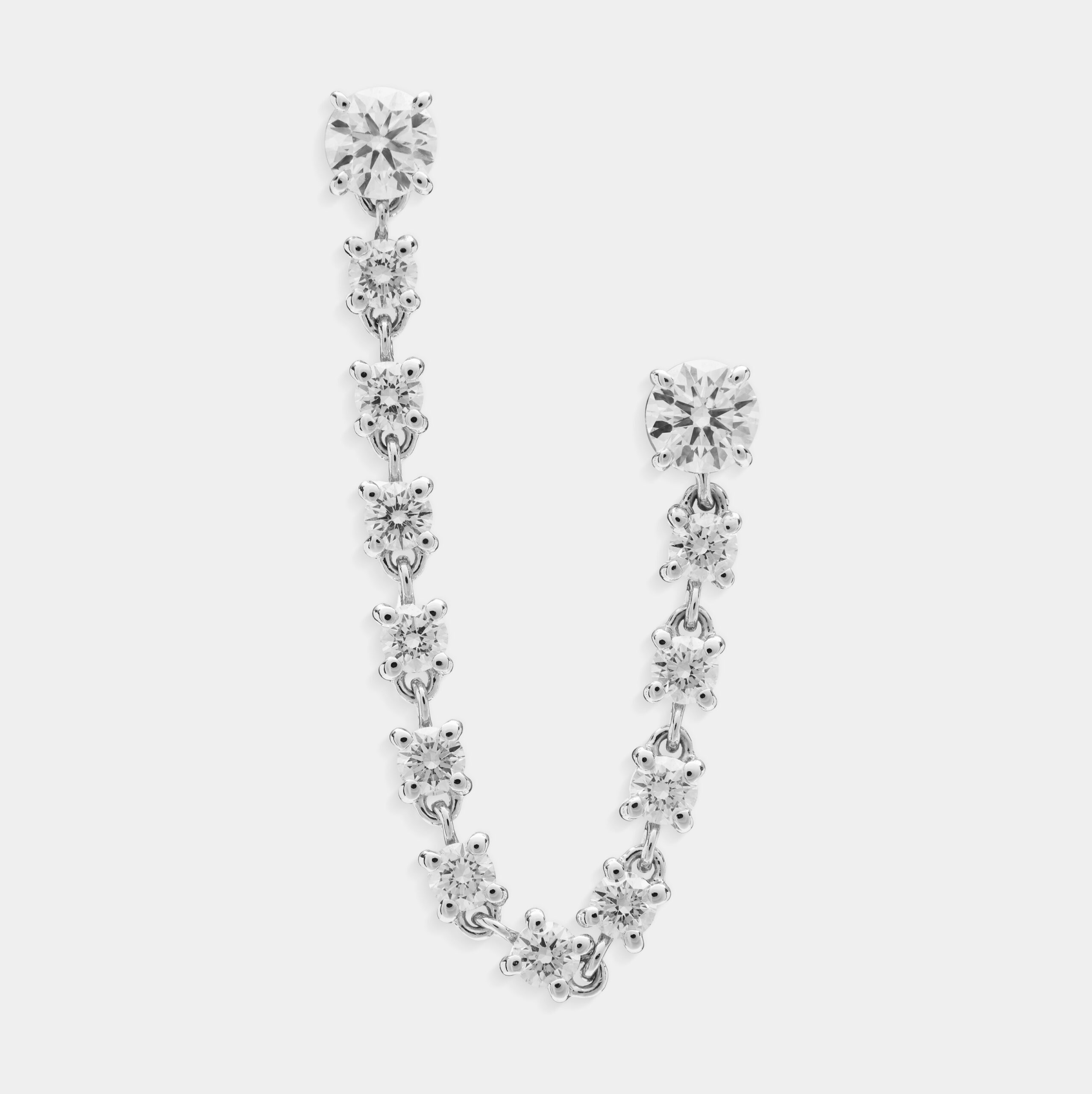 Doppio orecchino mono in oro bianco e diamanti - Rosanna Cattolico gioielli