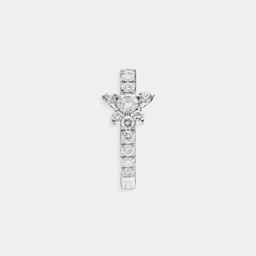 Mono orecchino cerchietto con stellina in oro bianco e diamanti - Rosanna Cattolico gioielli