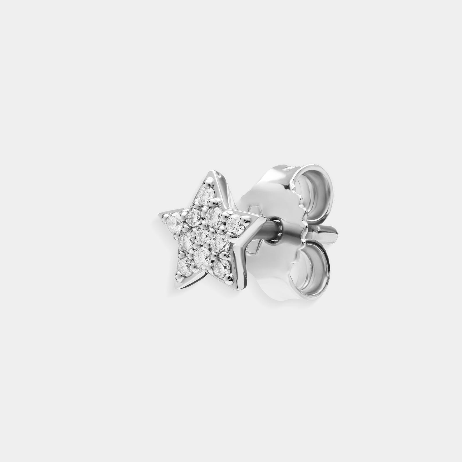 Mono orecchino stellina in oro bianco e diamanti - Rosanna Cattolico gioielli