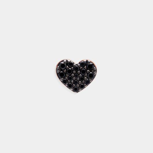 Mono Orecchino a cuore in oro rosa e brillanti neri - Rosanna Cattolico gioielli