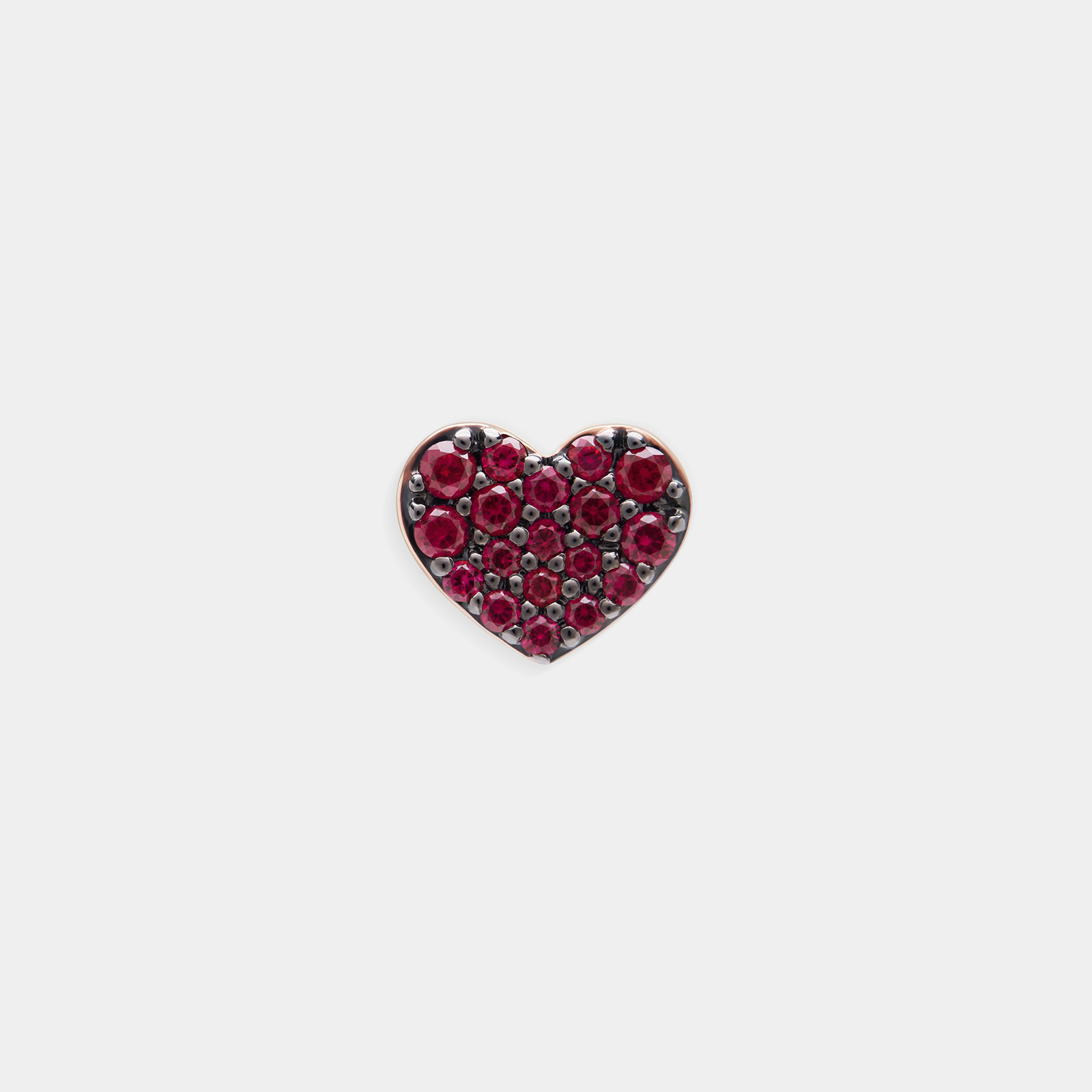 Mono Orecchino a cuore in oro rosa e rubini - Rosanna Cattolico gioielli