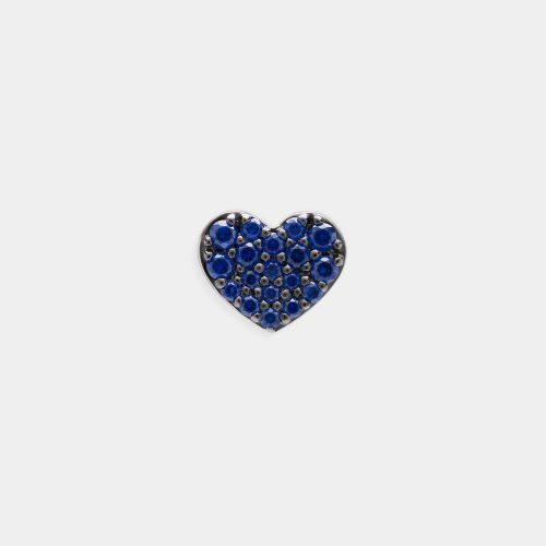 Mono Orecchino a cuore in oro bianco e zaffiri - Rosanna Cattolico gioielli