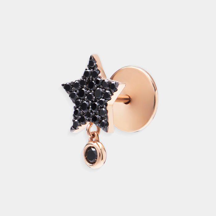 Mono Orecchino a stella in oro rosa e brillanti neri - Rosanna Cattolico gioielli