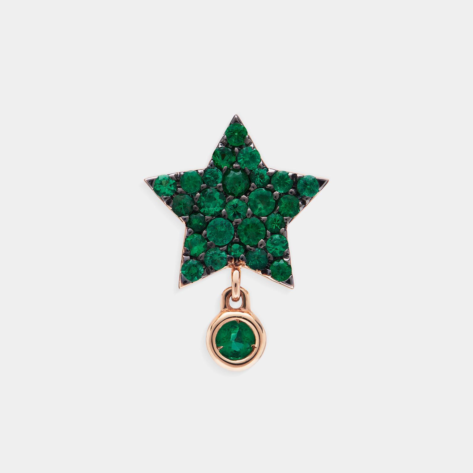 Mono Orecchino a stella in oro rosa e smeraldi - Rosanna Cattolico gioielli