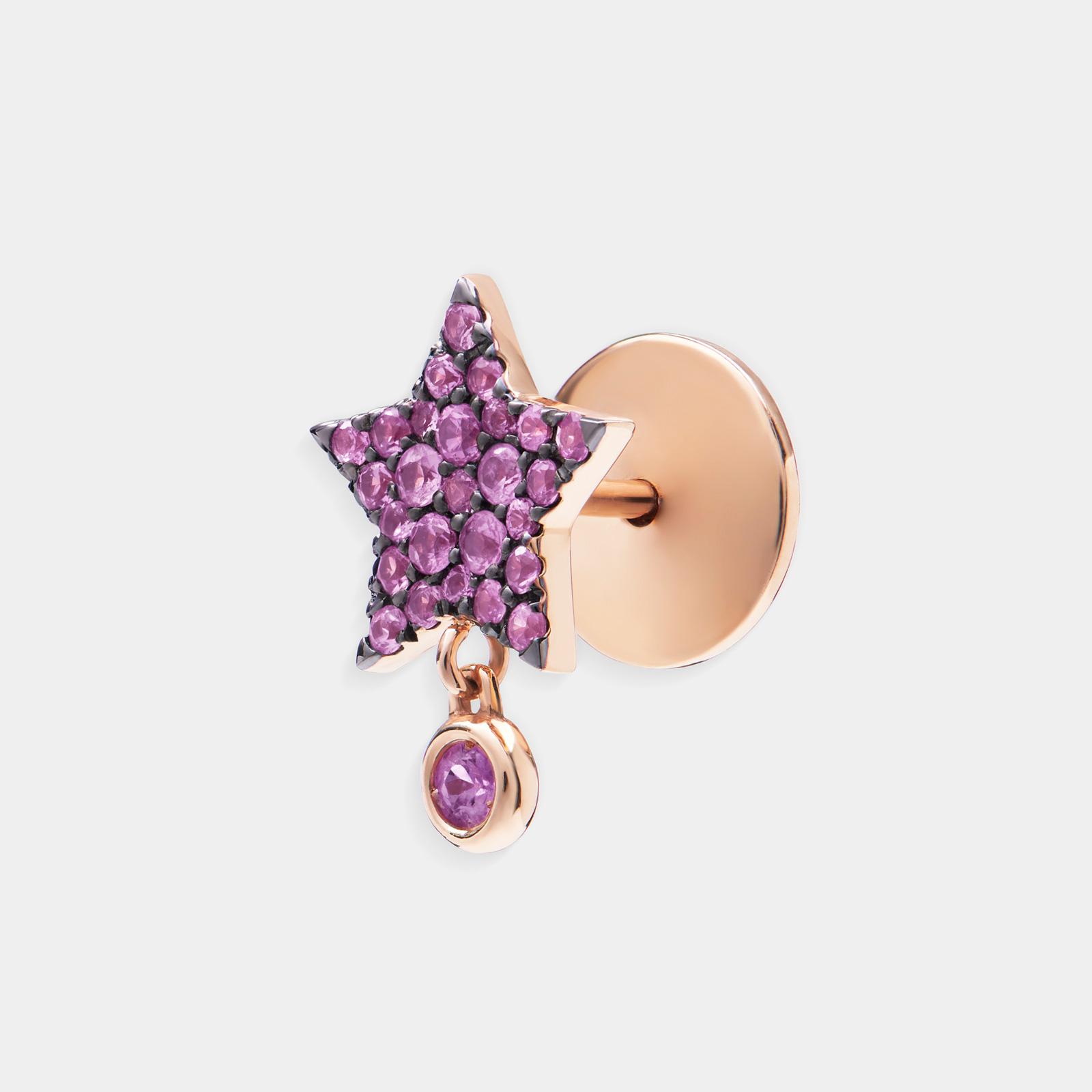 Mono Orecchino a stella in oro rosa e zaffiri rosa - Rosanna Cattolico gioielli