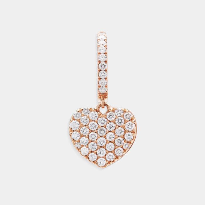 Mono Orecchino cerchietto in oro rosa con cuore pendente in diamanti - Rosanna Cattolico gioielli