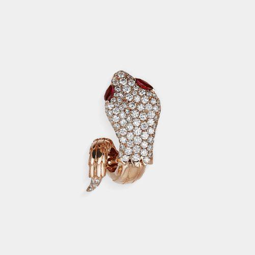Crivelli - Mono orecchino serpente in oro rosa con diamanti e rubini | Rosanna Cattolico gioielli