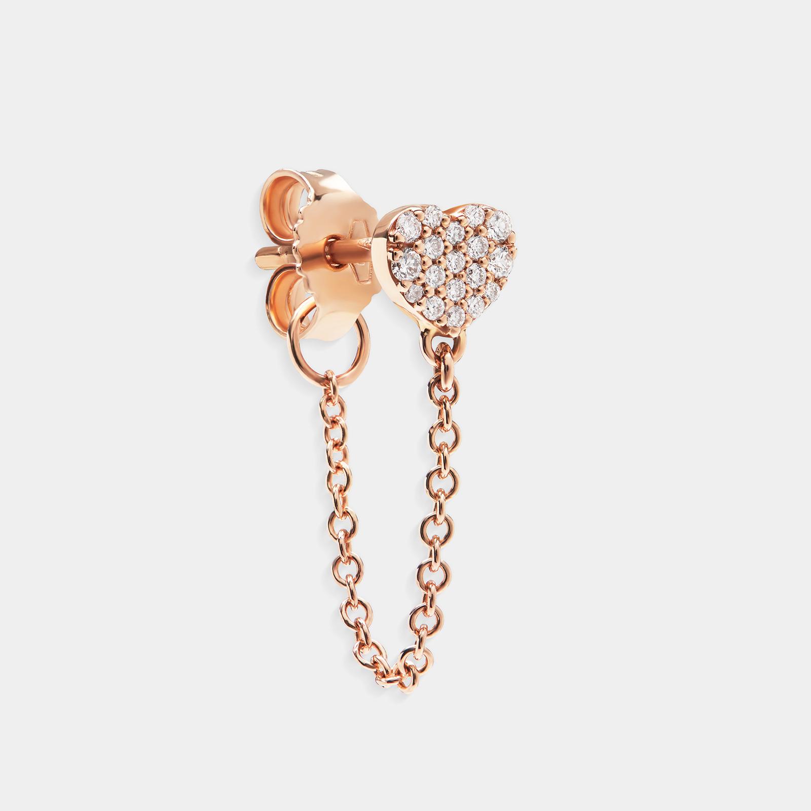 Mono Orecchino cuore in oro rosa e diamanti - Rosanna Cattolico gioielli