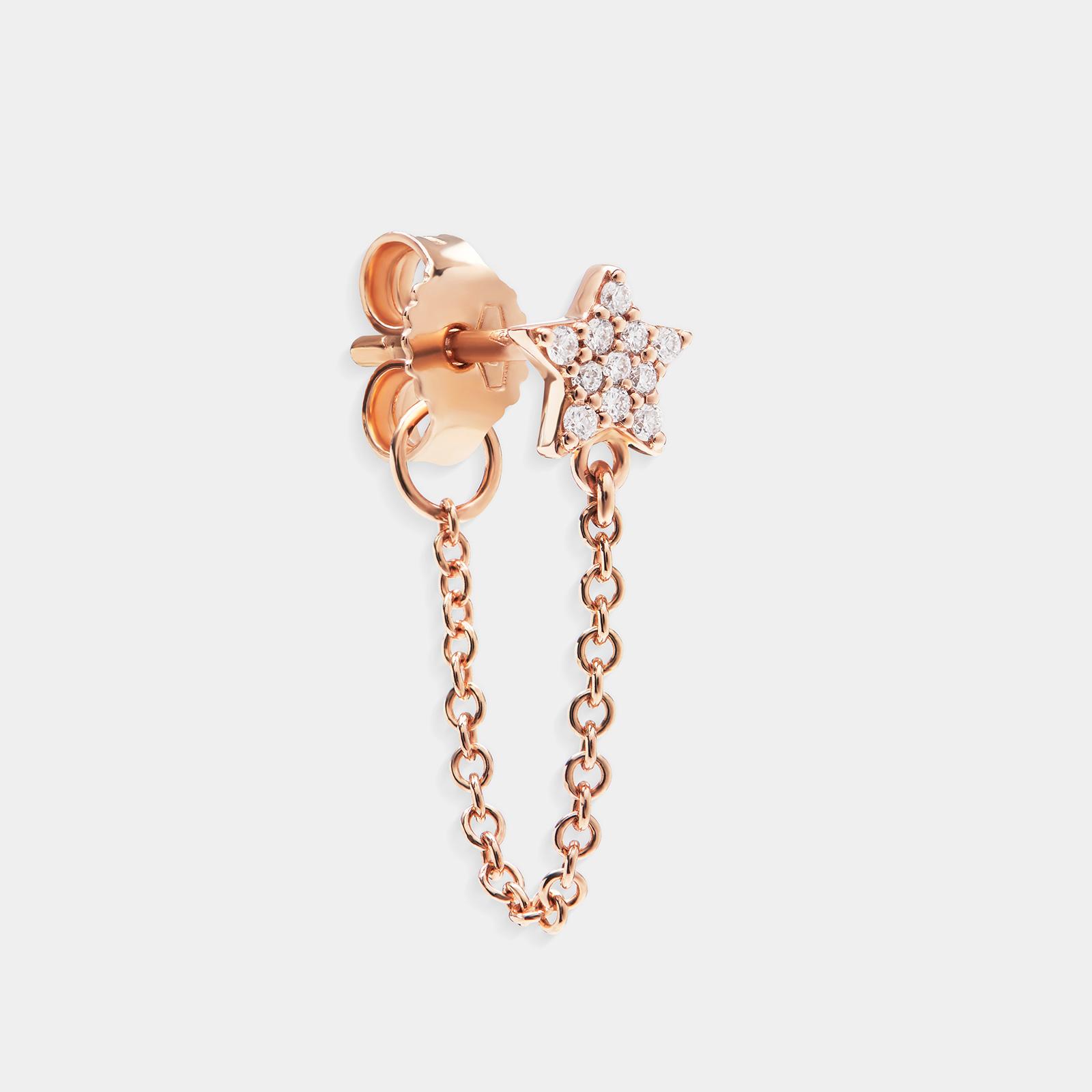 Mono Orecchino stella in oro rosa e diamanti - Rosanna Cattolico gioielli
