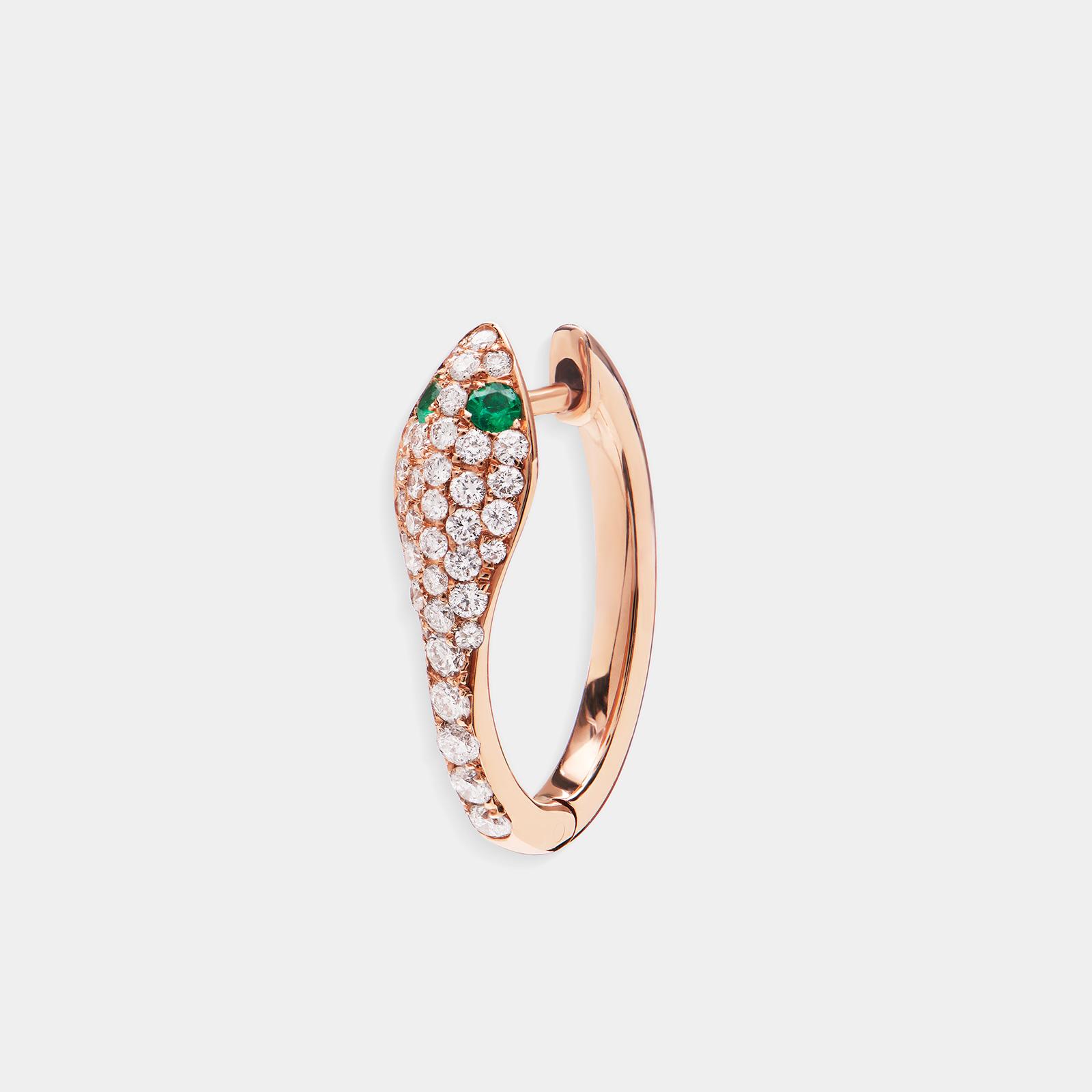 Mono orecchino serpente in oro rosa con diamanti e smeraldi | Rosanna Cattolico gioielli