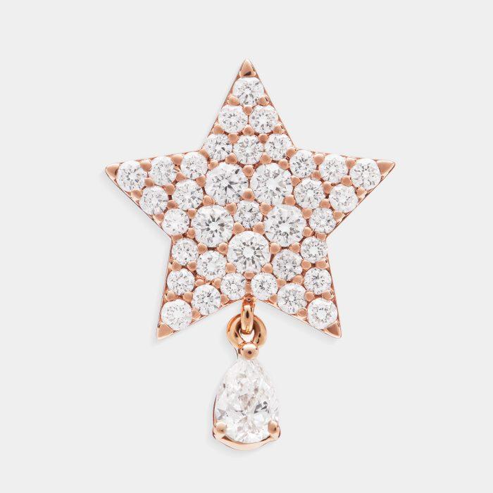 Mono Orecchino a stella in oro rosa e diamanti con diamante goccia - Rosanna Cattolico gioielli