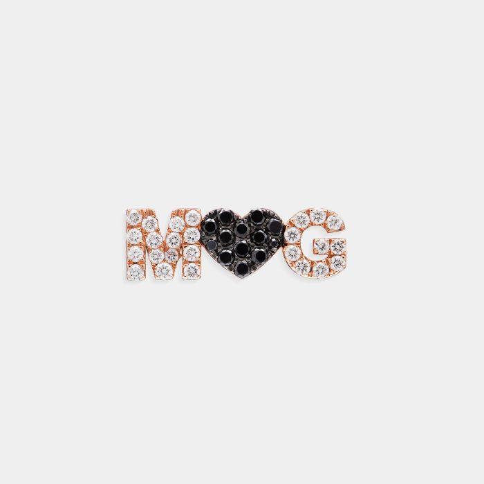 Mono Orecchino in oro rosa e diamanti personalizzato - Rosanna Cattolico gioielli