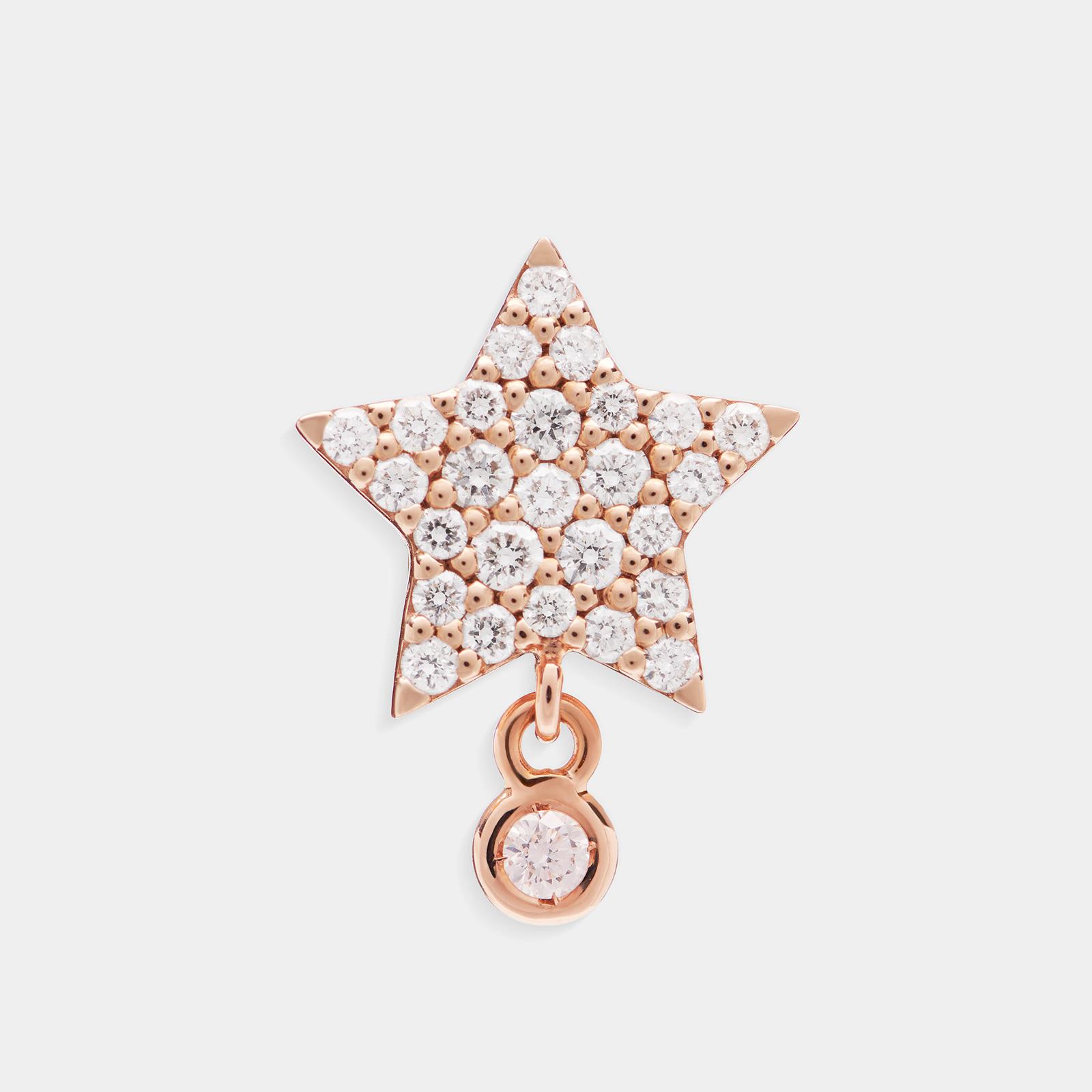 Mono Orecchino a stella in oro rosa e diamanti - Rosanna Cattolico gioielli