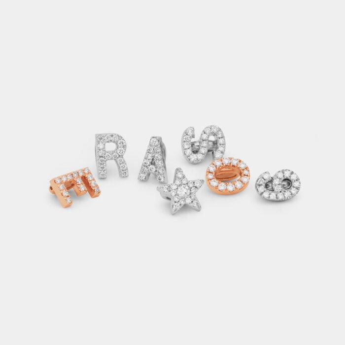 Letterine componibili in oro e diamanti - Rosanna Cattolico gioielli