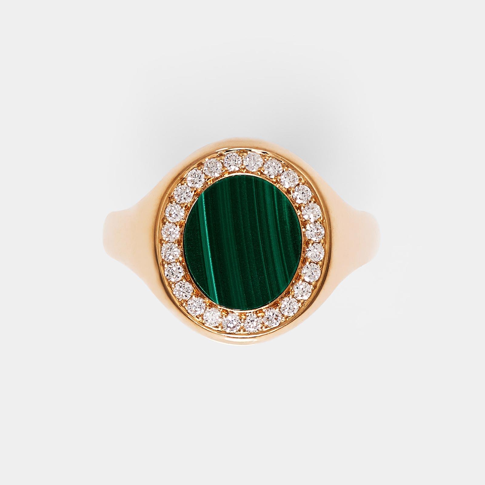 Crivelli - Anello in oro rosa e diamanti con pietra malachite - Rosanna Cattolico gioielli