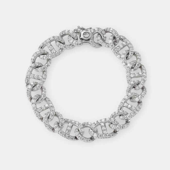 Crivelli - Bracciale groumette in oro bianco e diamanti - Rosanna Cattolico gioielli