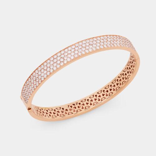 Bracciale manetta rigido in oro rosa con pavé di diamanti - Rosanna Cattolico gioielli