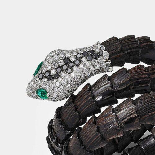 Crivelli - Bracciale rigido in legno padouk, oro bianco e diamanti - Rosanna Cattolico gioielli