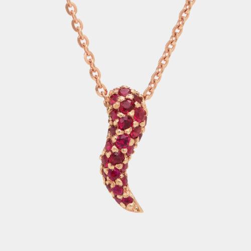 Collana cornetto pendente in oro rosa e rubini - Rosanna Cattolico gioielli