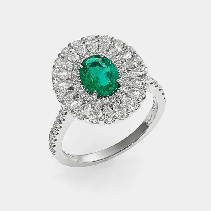 Fedina in oro bianco con diamanti e smeraldo taglio ovale - Rosanna Cattolico gioielli