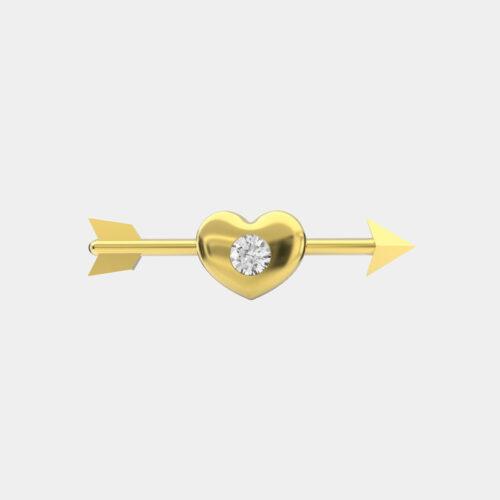 Delfina Delettrez - Orecchini Dardo Heart in oro giallo e diamante - Rosanna Cattolico gioielli