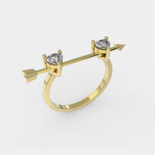 Delfina Delettrez - Fedina Dardo in oro giallo e diamanti - Rosanna Cattolico gioielli