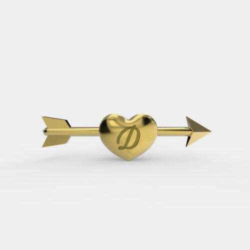 Delfina Delettrez - Orecchino Dardo Initial in oro giallo personalizzabile con iniziale incisa - Rosanna Cattolico gioielli