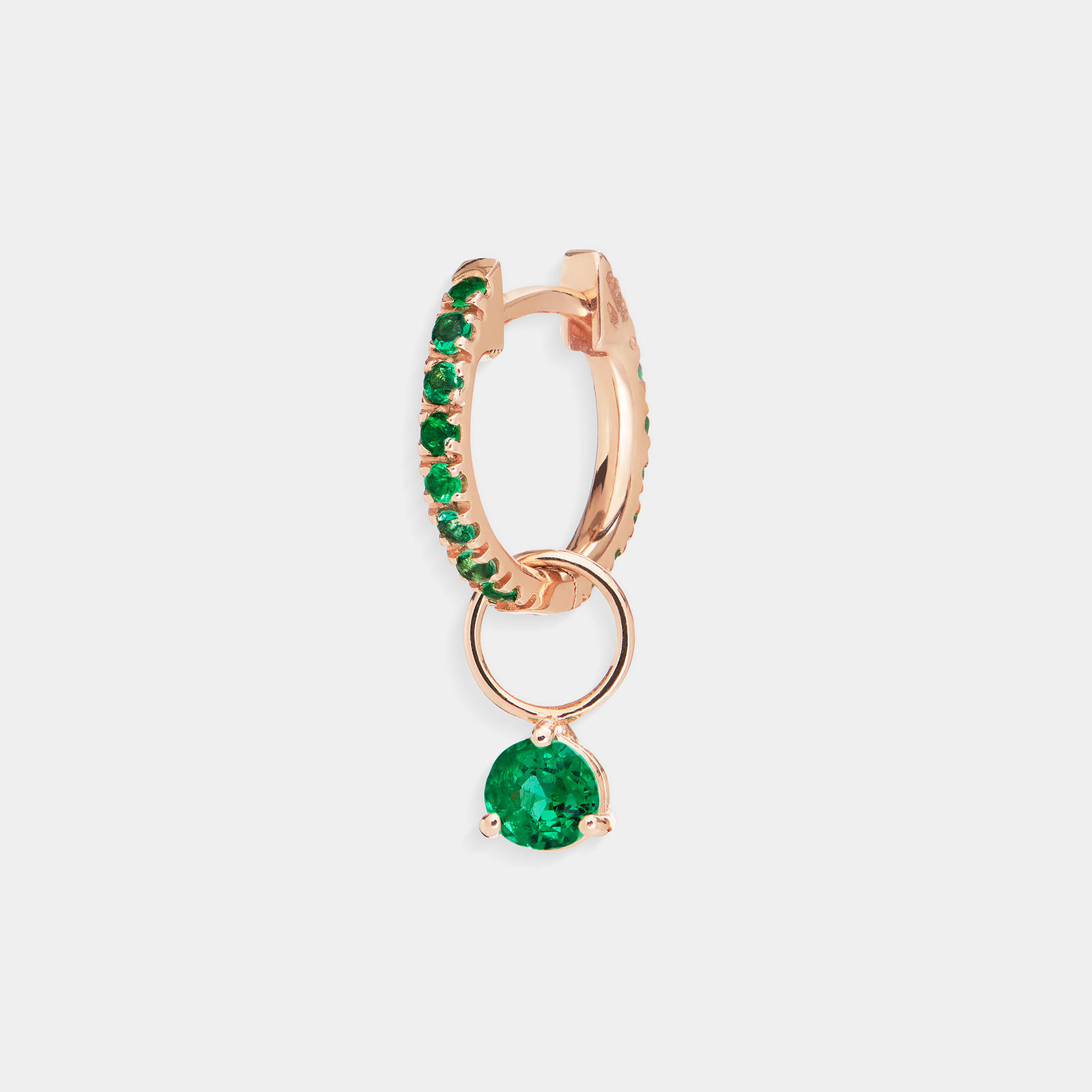 Mono orecchino cerchietto in oro giallo e smeraldi - Rosanna Cattolico gioielli
