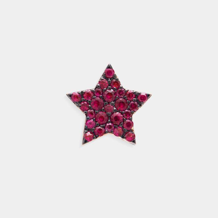 Mono Orecchino a stella in oro rosa e rubini - Rosanna Cattolico gioielli