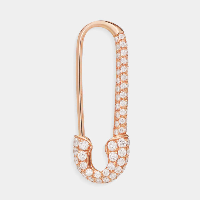 Mono Orecchino spilla in oro rosa e diamanti - Rosanna Cattolico gioielli