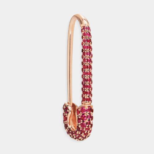 Mono Orecchino spilla in oro rosa e rubini - Rosanna Cattolico gioielli
