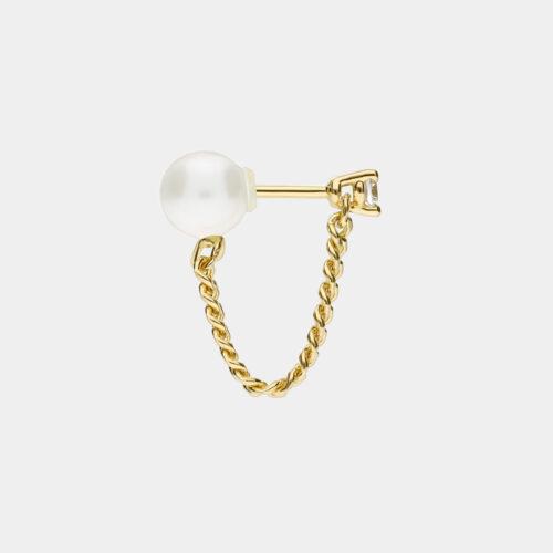 Delfina Delettrez - Orecchino Unchain My Heart in oro giallo con diamante e perla - Rosanna Cattolico gioielli