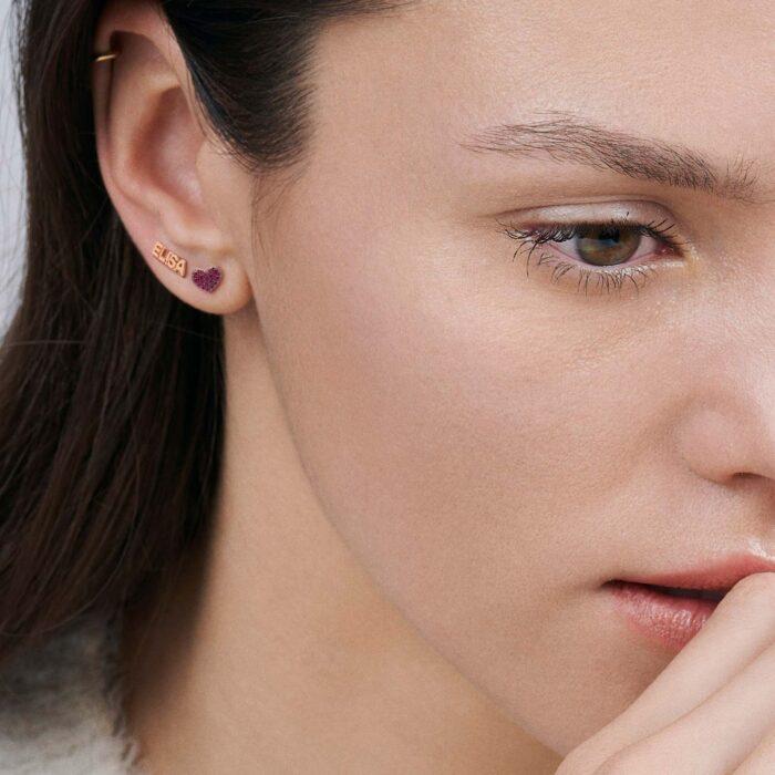 Rosanna Cattolico – Mono orecchino personalizzato 'ELISA' in oro rosa