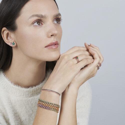 Rosanna Cattolico - Mono orecchino stella in oro rosa e smeraldi taglio brillante