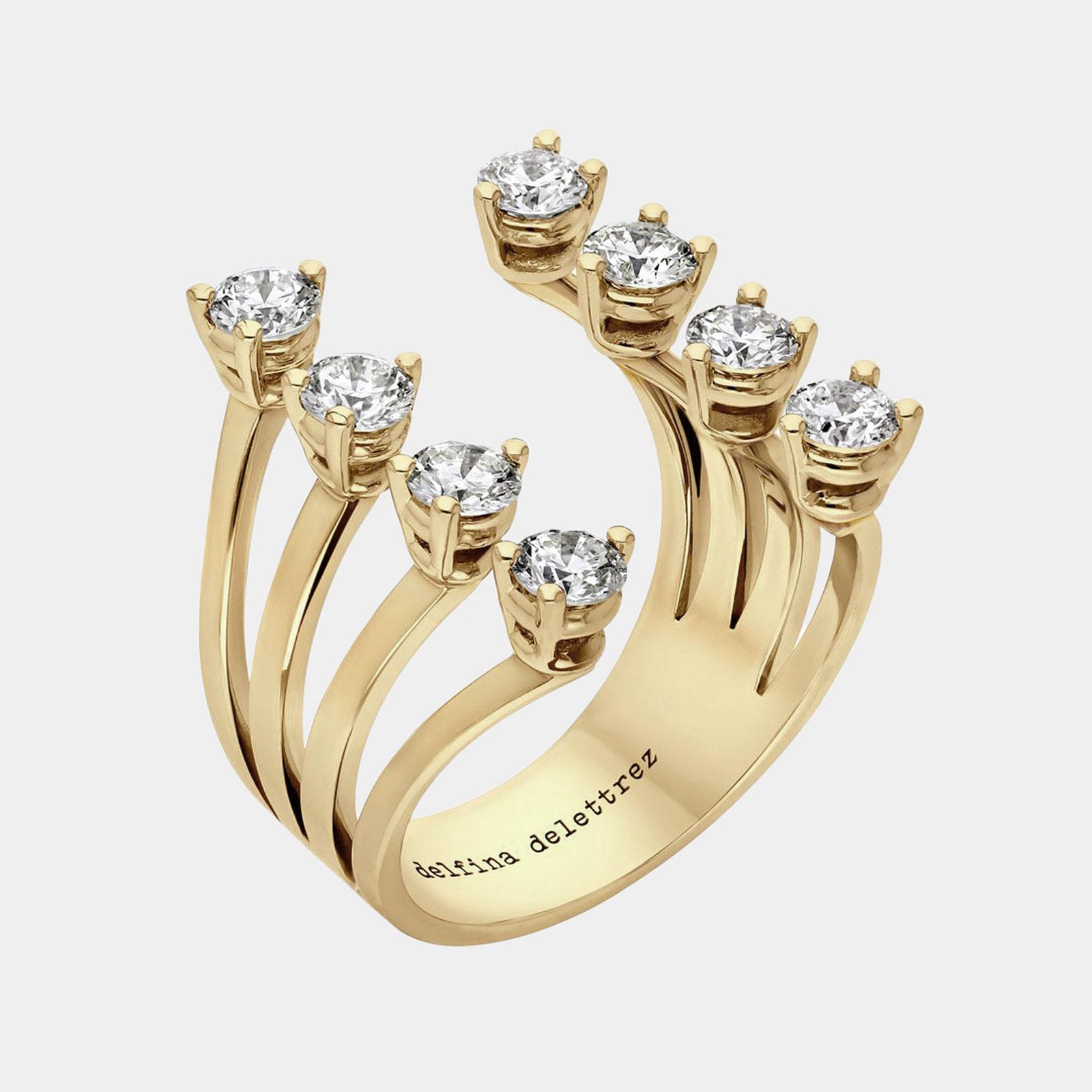 DELFINA DELETTREZ - Anello Dots in oro rosa e diamanti Rosanna Cattolico gioielli