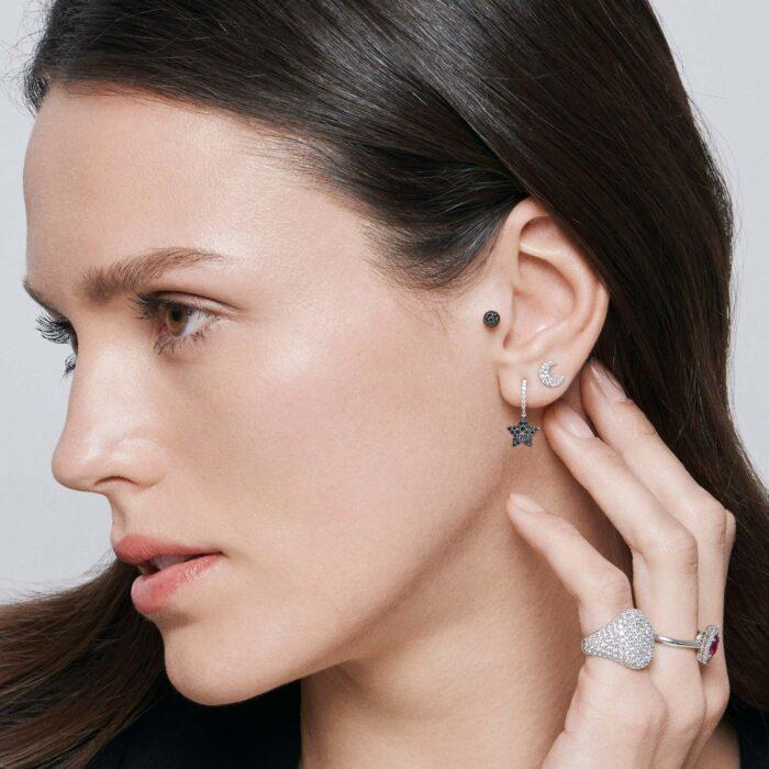 Rosanna Cattolico - Mono orecchino in oro bianco e diamanti