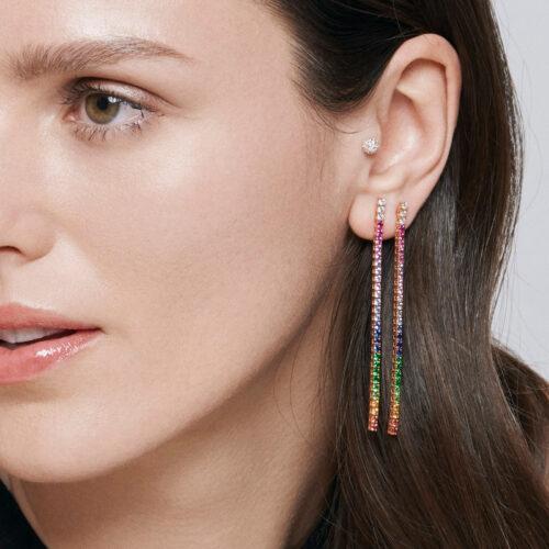 Crivelli - Mono orecchino tennis in oro rosa, diamanti e zaffiri multicolor