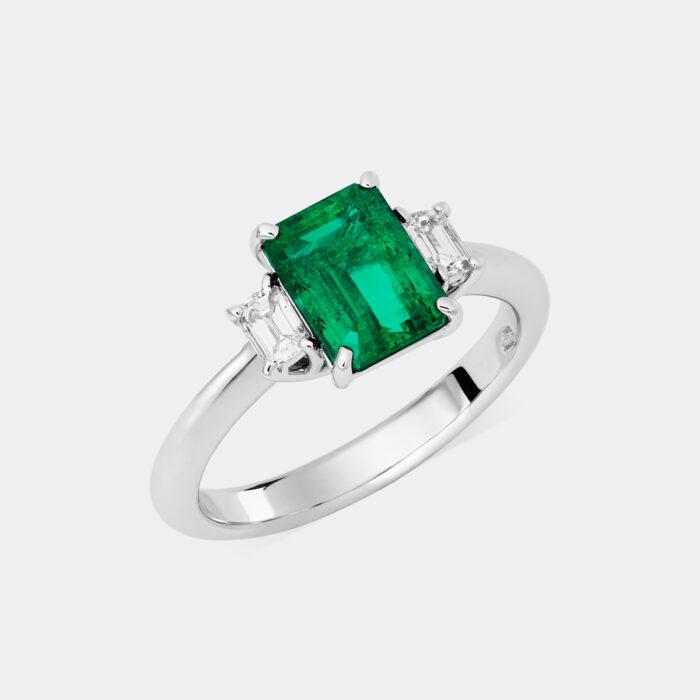 Crivelli - Anello in oro bianco, smeraldo ottagonale e diamanti